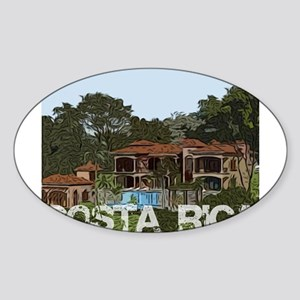 Beach house in costa rica Oval Sticker