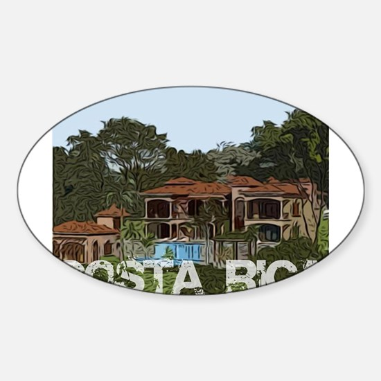 Beach house in costa rica Oval Decal