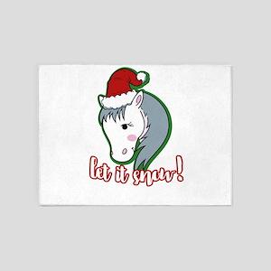 Let It Snow Horse Santa Hat Christm 5'x7'Area Rug