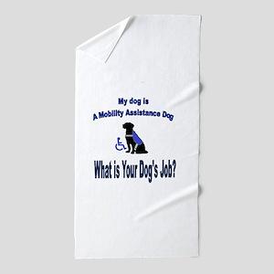 mobility assistance dog boy Beach Towel
