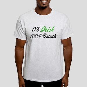 0% Irish 100% Drunk Light T-Shirt