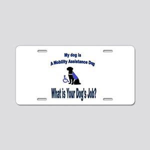 mobility assistance dog boy Aluminum License Plate