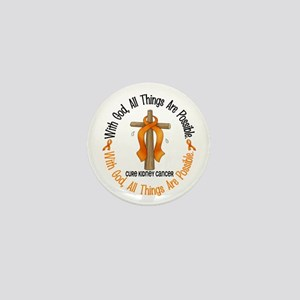 With God Cross Kidney Cancer Mini Button