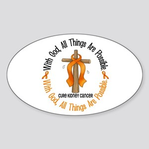 With God Cross Kidney Cancer Oval Sticker