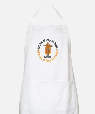 With God Cross MS BBQ Apron