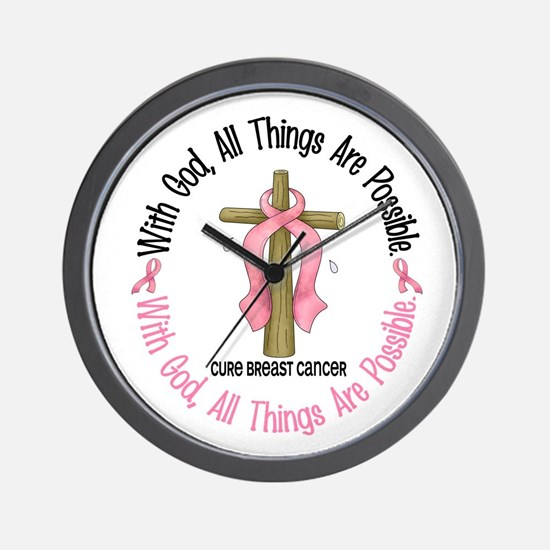With God Cross Breast Cancer Wall Clock