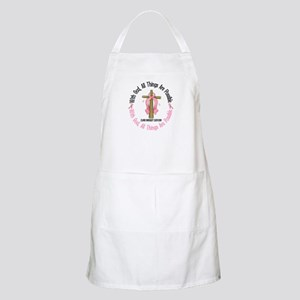 With God Cross Breast Cancer BBQ Apron