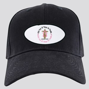 With God Cross Breast Cancer Black Cap