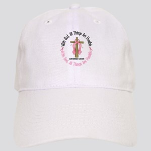 With God Cross Breast Cancer Cap