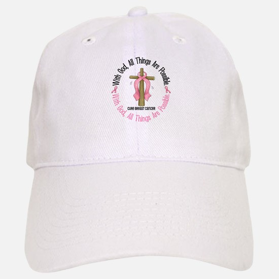 With God Cross Breast Cancer Baseball Baseball Cap