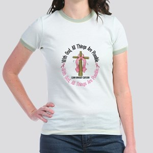 With God Cross Breast Cancer Jr. Ringer T-Shirt