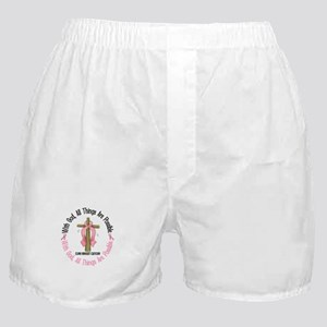 With God Cross Breast Cancer Boxer Shorts