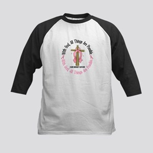 With God Cross Breast Cancer Kids Baseball Jersey