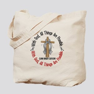 With God Cross Brain Cancer Tote Bag