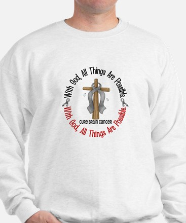 With God Cross Brain Cancer Sweatshirt