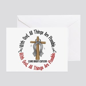With God Cross Brain Cancer Greeting Cards (Pk of