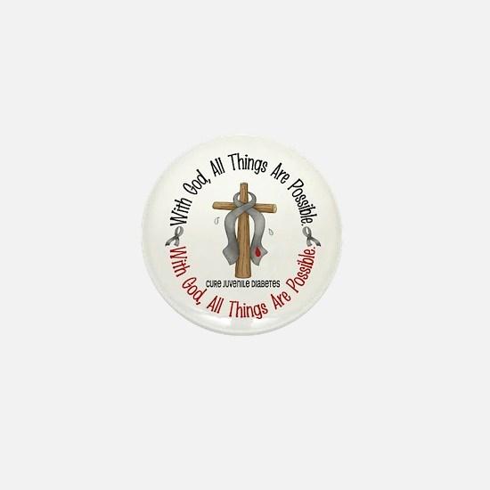With God Cross Juvenile Diabetes Mini Button