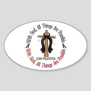 With God Cross Melanoma Oval Sticker