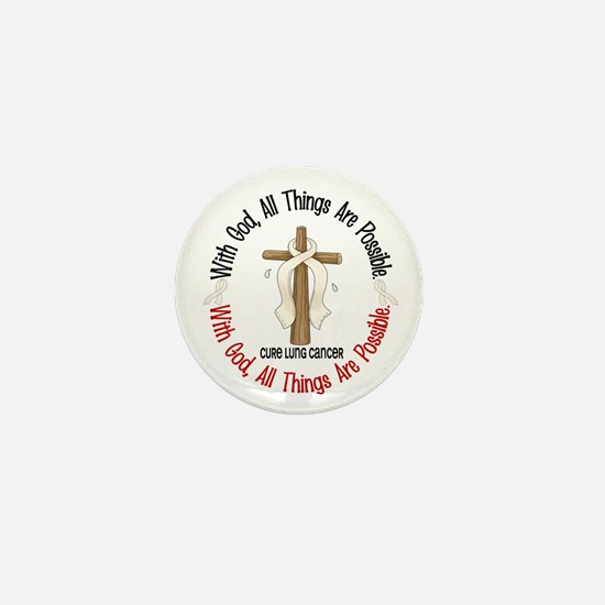 With God Cross Lung Cancer Mini Button