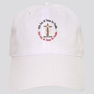 With God Cross Lung Cancer Cap