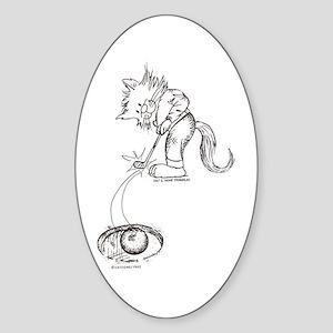 Golf Cat Oval Sticker