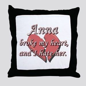 Anna broke my heart and I hate her Throw Pillow