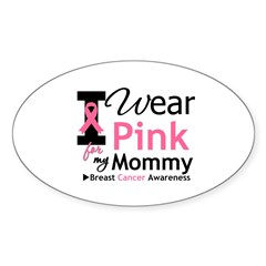 I Wear Pink Mommy Oval Decal