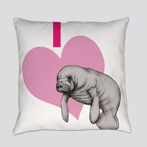 I love Manatees Everyday Pillow