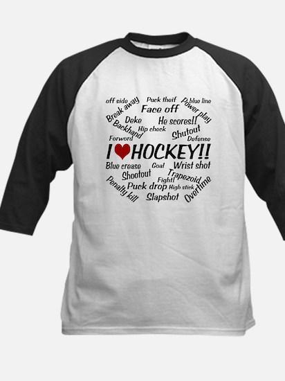 I Love Hockey Kids Baseball Jersey