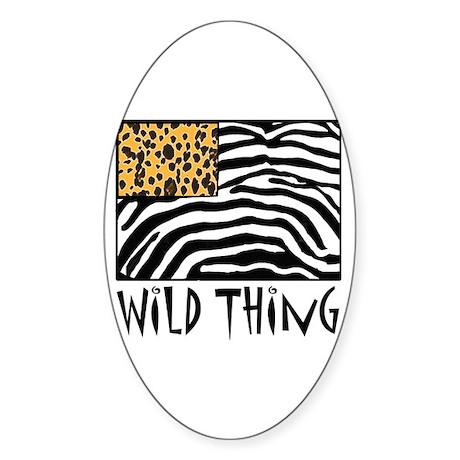 Cheetah & Zebra Wild Thing Sticker (Oval 50 pk)