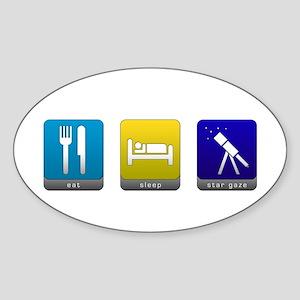 Eat, Sleep, Stargaze Oval Sticker