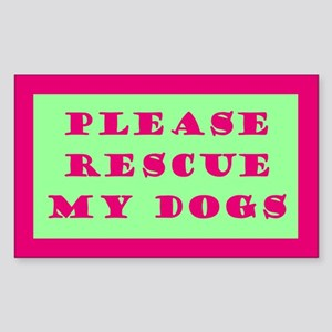 Pink & Green Rescue My Dogs Sticker
