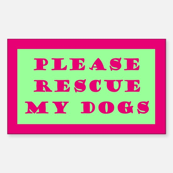 Pink & Green Rescue My Dogs Decal