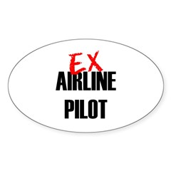 Ex Airline Pilot Oval Sticker (10 pk)