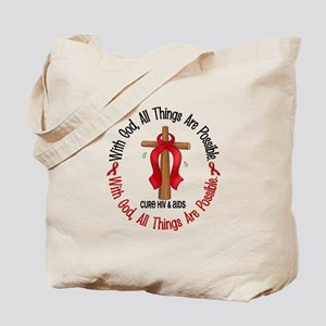 With God Cross HIV AIDS Tote Bag
