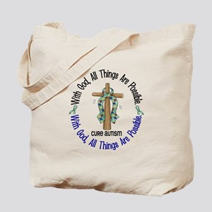 With God Cross Autism Tote Bag