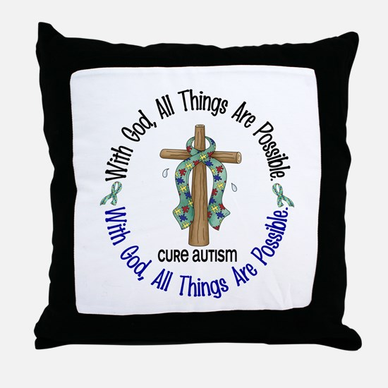 With God Cross Autism Throw Pillow