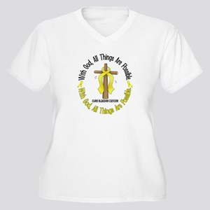 With God Cross BLADDER CANCER Women's Plus Size V-
