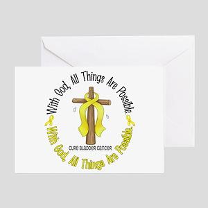 With God Cross BLADDER CANCER Greeting Card