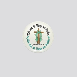 With God Cross Cervical Cancer Mini Button