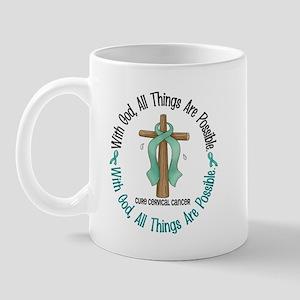 With God Cross Cervical Cancer Mug