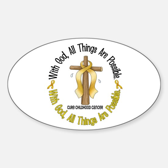 With God Cross CHILD CANCER Oval Decal