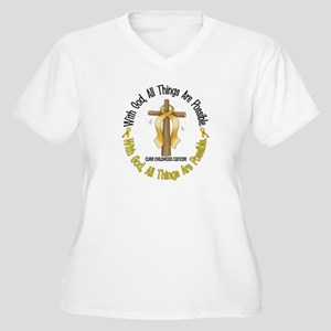 With God Cross CHILD CANCER Women's Plus Size V-Ne