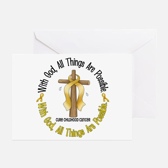 With God Cross CHILD CANCER Greeting Cards (Pk of