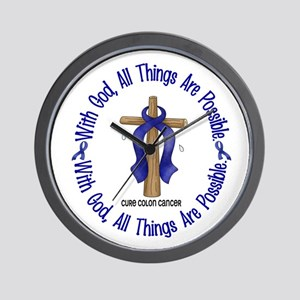 With God Cross COLON CANCER Wall Clock