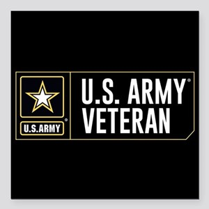 "U.S. Army Veteran Logo Square Car Magnet 3"" x 3"""