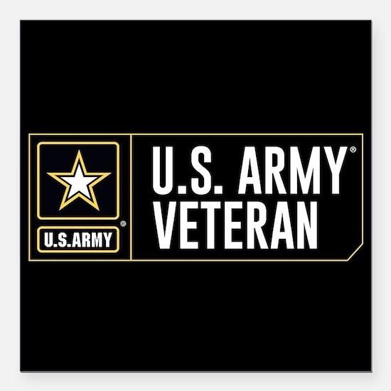 "U.S. Army Veteran Logo Square Car Magnet 3"" x 3"""