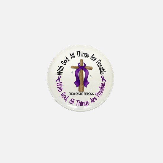 With God Cross Cystic Fibrosis Mini Button