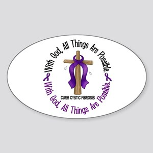 With God Cross Cystic Fibrosis Oval Sticker
