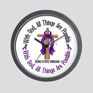 With God Cross Cystic Fibrosis Wall Clock